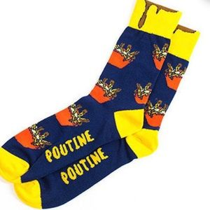 Main and Local POUTINE novelty socks, unisex